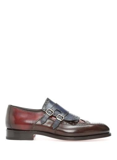 Santoni %100 Deri Çift Tokalı Klasik Ayakkabı Bordo